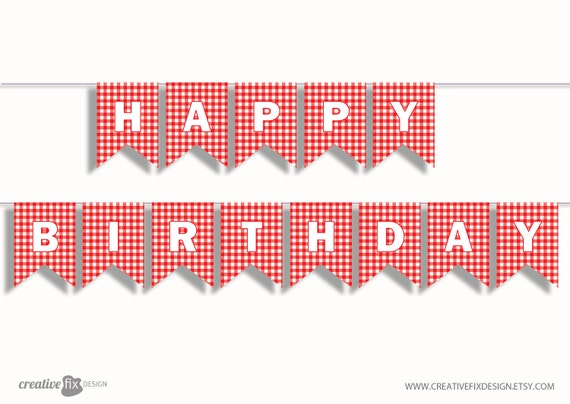 Red Plaid Happy Birthday Printable Banner. Paper Bunting Flags