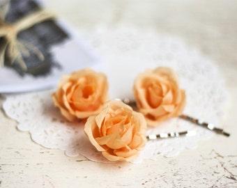 71 Orange wedding, Hair clips flowers, Hair pins flowers, Hair flower, Barrettes flowers, Hair pin rose, Rose pins, Bridal hair accessories.