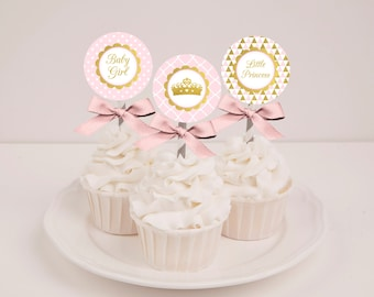 Printable Pink Princess Girl Baby Shower Cupcake Toppers - Instant Download