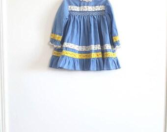 Vintage Blue Smocked Toddler Dress