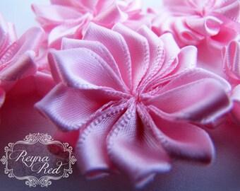 Baby Pink Satin Ribbon Fabric Flowers, 5 pcs, 38mm size,  ribbon flower, hair clip embellishment - reynaredsupplies