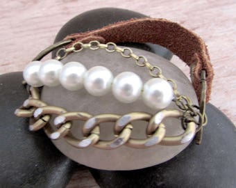 Leather and Pearl Bracelet - As Gifted to Stephanie Drapeau - Leather Bracelet - Celebrity Jewelry - Pearl Bracelet - Boho Pearl Bracelet