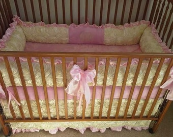 Ivory, cream, rosette and pink baby bedding set