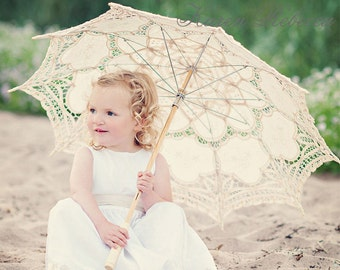 For Wedding Flower Girl Handmade Battenburg Lace Vintage Umbrella Parasol New Pattern