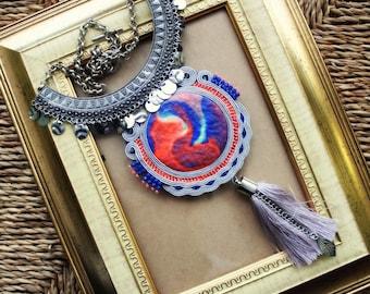 Soutache necklace with tassel