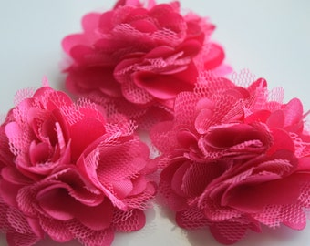 Hot Pink Lace Flower, Satin flower,Shredded Lace Flower, 2  inch,Wholesale Supply Flowers for Headband and other DIY