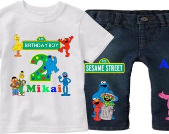 Sesame Street Outfit -  Sesame Street Birthday - Boy's Birthday Outfit - Boy's Birthday Set - Elmo Birthday Set - Custom Sesame Street