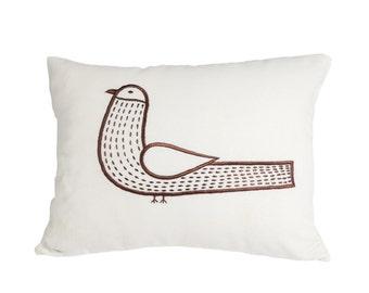 Bird Lumbar Pillow Cover, Throw Pillow, Bird Cushion Cover, Cream Linen Brown Bird Embroidery, Bird Decor, Decorative pillow for couch