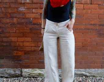 White Tan Women's High Rise Wide Leg Linen Pants with Pockets|Plus Size Linen Pant|Linen Trousers|Low Rise Linen Pants|Summer Linen Pants|
