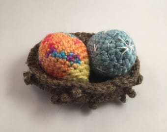 Set of Two Crocheted Easter Eggs in a Crocheted Nest - A Fun Gift for Spring!