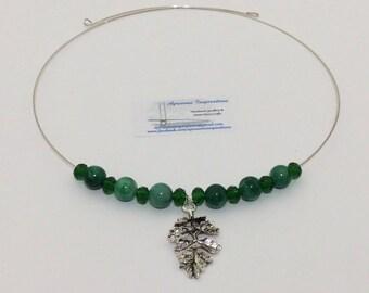 Emerald Leaves Memory Wire Choker