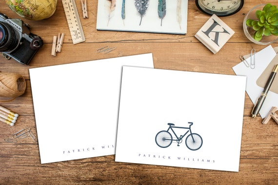 Simply Personalized Folded Note Cards, Simple Classic Name Folded Cards