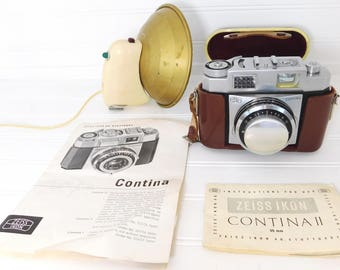 ZEISS IKON Contina II Camera 35MM, Leather case, Flash, Manual 1956-1958