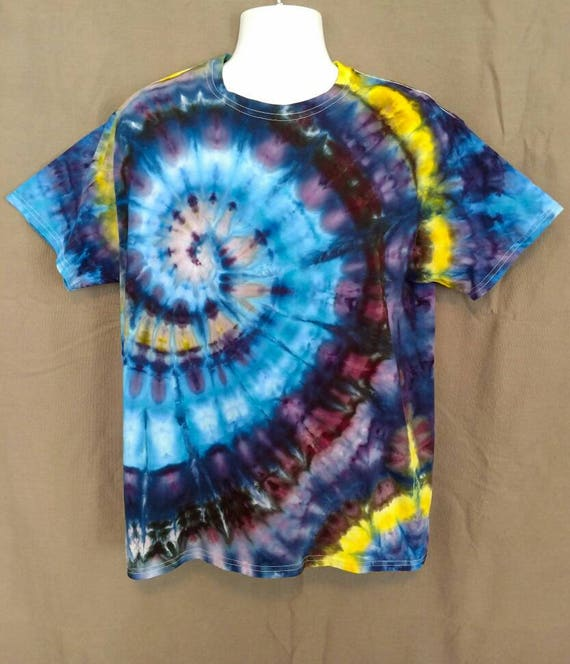 Hand Dyed Tie Dye T-Shirt/Adult T-Shirt/Spiral Ice Dye Design/ Short Sleeve/Unisex/Eco-Friendly Dying