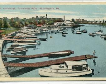 Boat Anchorage Fairmount Park Philadelphia Pennsylvania 1920c postcard