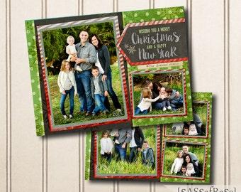 Merry Twinkle--Christmas Card Template for Adobe Photoshop, Photographer Template, Instant Download, DIY, Commercial Use