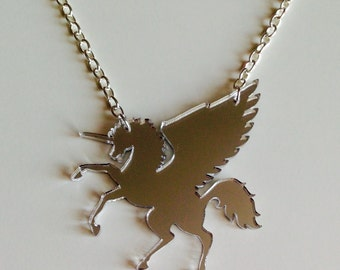 Unicorn Pegasus Horse Equestrian My Little Pony Mirrored Silver Laser Cut Acrylic Necklace