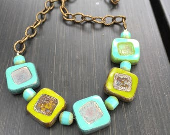 Avocado and Turquoise Square Czech Glass Beads Antiqued Brass Chain Necklace \\ Boho Jewelry \\ Minimalist Jewelry