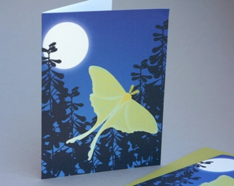 Luna Moth Stationery Set, Butterfly Stationary Set Insect Bug Woodland Full Moon Night Blue Green Mothers Day Note Card