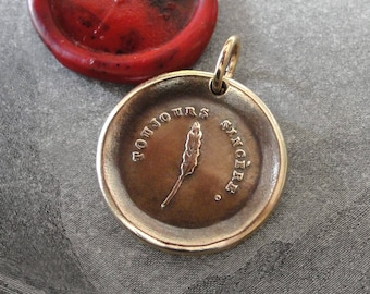 Always Sincere Wax Seal Pendant - Feather Quill antique wax seal jewelry pendant charm French motto Truth Honesty by RQP Studio
