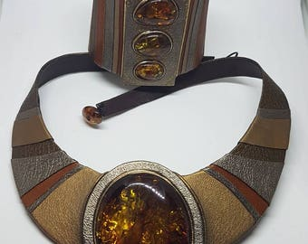A set of necklace and bracelet from Baltic Amber and leather