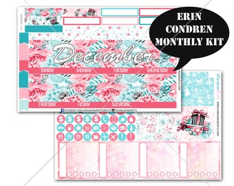 Winter Stickers MONTHLY Planner Kit, for Erin Condren Stickers, Life Planner Sticker, Monthly Sticker Kit, December planner #SQ00766-EC