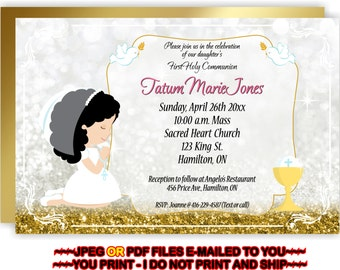 First Holy Communion, Invitation, Girl 1st Communion, Communion Invite, Girl, 1st Communion Invite -  FIRSTCOMG3