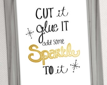 Add Some Sparkle to It Printable Art - Digital Download - Quote Word Art Illustration Typography Print by Jen Goode