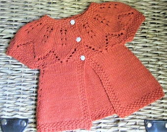 Hand Knitted Baby Tangerine Leaf Lace Cardigan Sweater