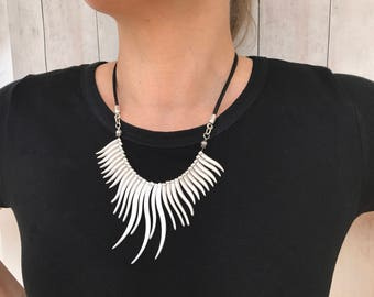 Silver Fringe Necklace Leather Necklace Festival Necklace Boho Necklace Cascade Necklace Statement Bib Necklace Birthday Gift for Wife