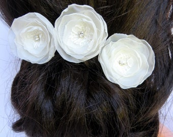 Ivory bridal flower hair accessories (set of 3), bridal hairpiece, bridal hair flower, wedding hair accessories, READY TO SHIP