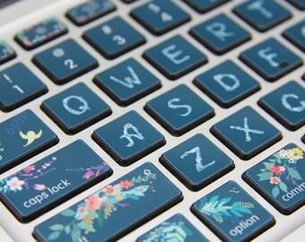 Fleur vinyle livre clavier autocollant Laptop clavier peau Macbook clavier mac autocollant pour Apple Macbook Air Pro clavier sans fil
