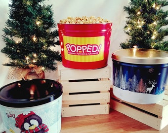 Holiday Gourmet Popcorn Tin (2 Gal) | Ships FREE, Multi-flavor, with Special Christmas Labels! Great Gift For Parents and Grandparents