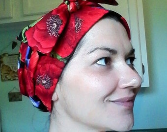 Women's Red Poppies Chemo Scarf, Hat, Cancer Hat,  Alopecia, Head Cover