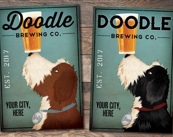 FREE CUSTOMIZATION Bi Color Doodle Bernedoodle Bernadoodle Brewing Company Beer Sign Gallery Wrapped Canvas Wall Art Ready-to-Hang Doodle