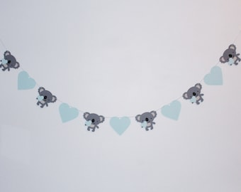 Baby Koala and Heart Garland - Custom Colors - Nursery, Koala Baby Shower Decoration or Photo Prop