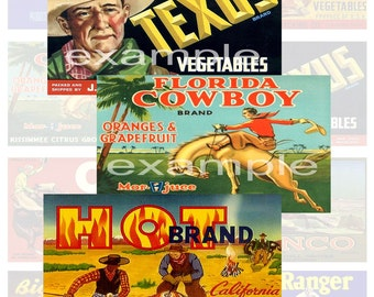 Cowboy...Food Labels...Western...Digital Collage Sheet
