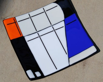 Fused Art Glass Plate, Wedding Gift, Tray, Platter, Serving Dish, Mondrian Inspired
