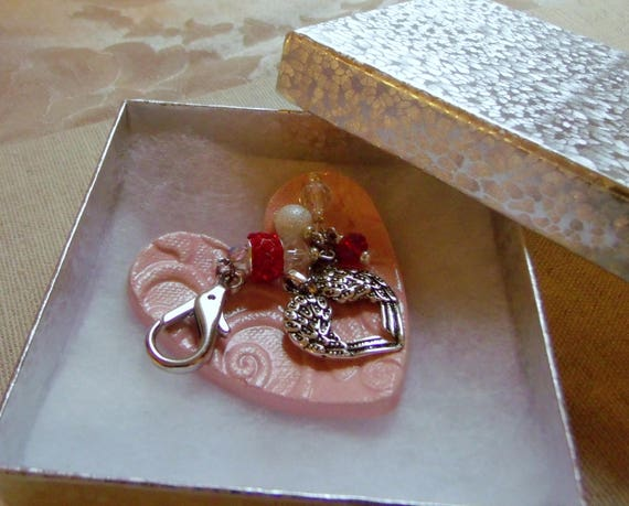 Mothers day gift - Valentines gift set - ceramic heart ring dish - red zipper pull - silver wing  - Anniversary -  free letter - bag charm