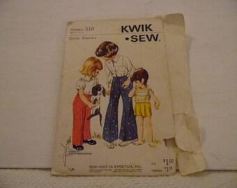 Kwik Sew Pattern #310 Girls size 2 -4- 6 Slacks and Shorts Uncut Pattern Pieces
