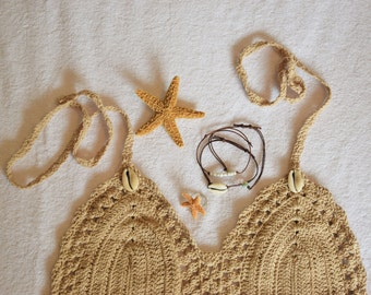 mermaid outfit festival baja starfish accessories cowrie shell crop top crochet ring hair clip bracelets ocean beach theme deep sea gift set