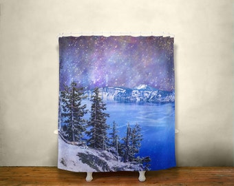 Surreal Shower Curtain, Space Decor, Nature Shower Curtain, Crater Lake Oregon, Mountain Scene, Nebula, Colorful Bathroom, Rainbow