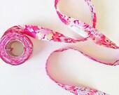 Liberty Fabric Bias Binding Thorpe Pink - Floral Red Pink White