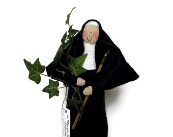 "Nun doll religious Catholic humor keepsake gardener ""Sister Virginia Creeper"", the gardening nun"