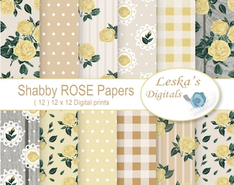 Rustic Rose Digital Paper, Shabby Chic Scrapbook, Floral Scrapbook Background, Wood Background, rustic papers with roses, wedding invites