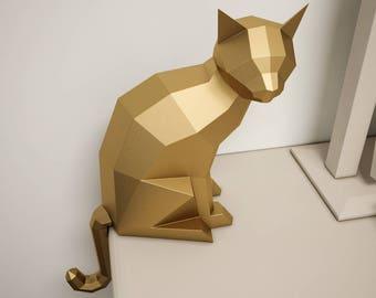 Papercraft robot 3d paper craft diy paper sculpture paper 3d paper craft cat diy sculpture sitting cat papercrafting low poly animals pet solutioingenieria Images