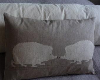 Handprinted   hedgehog pair cushion cover