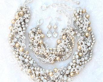 Pearl Statement Necklace Set, Chunky Bridal Necklace Wedding Necklace for Bride Swarovski Wedding Necklace, Pearl Rhinestone Bridal Necklace