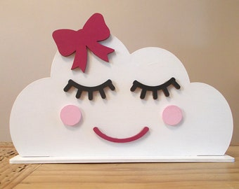 Freestanding Cloud Shelfie with Pink Bow