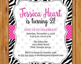 Pink Black Zebra Print Birthday Party Invitation, Polka Dots Invite, Girl's 21st 7th 8th 9th 13th Animal Print 5x7 Digital JPG File (575)